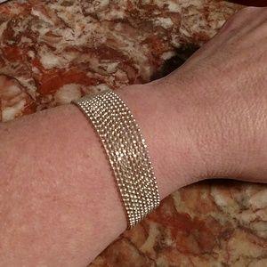 "Sterling Micro Bead Multi Strand Bracelet 7 3/4"""